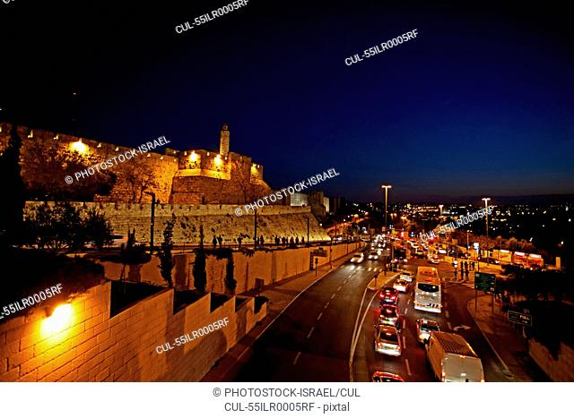 Jerusalem, Old City. The illuminated walls at night Tower of David in centre left, Israel