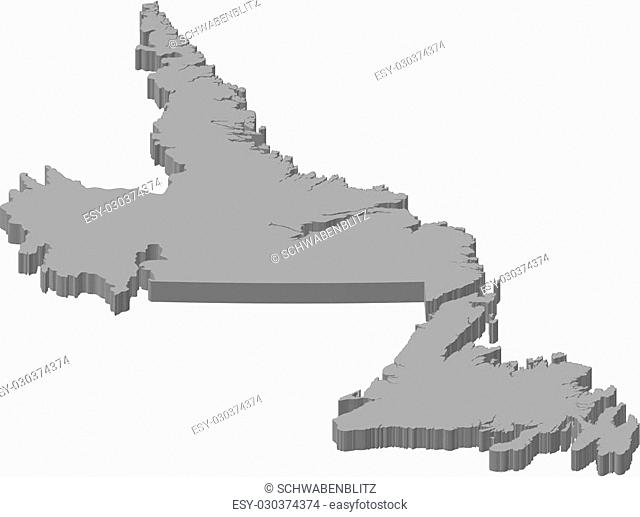 Map of Newfoundland and Labrador, a province of Canada