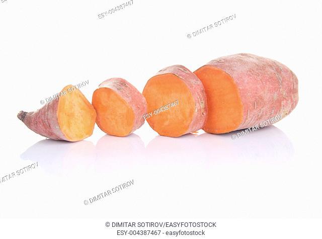 Sweet potatos lat Ipomoea batatas , isolated on white background