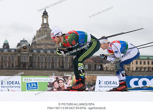 13 January 2019, Saxony, Dresden: Cross Country World Cup, 6 x 1,6 km Team-Sprint Freestyle, Semifinal, Men: Thomas Bing (l) from Germany runs on the track...