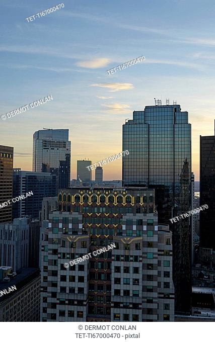 Massachusetts, Boston, Office buildings at dusk