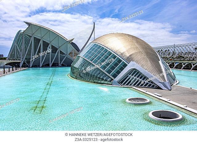 Planetarium at Ciudad de las artes y las ciencias, City of Arts and Science in Valencia, Spain, Europe