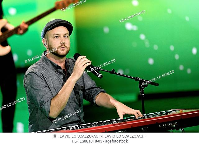 The singer Matt Simons during the tv show Che tempo che fa, Milan, ITALY-07-10-2018