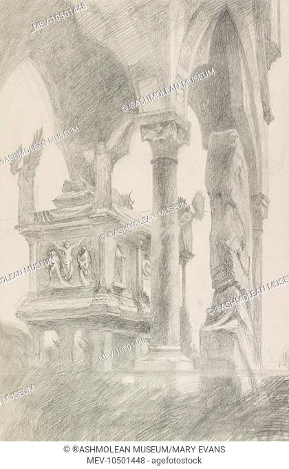Study for General Chiaroscuro of the Sarcophagus and Canopy of the Tomb of Mastino II della Scala, Verona. John Ruskin