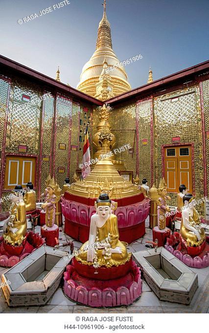Mandalay, Myanmar, Burma, Sutaungpyei, Asia, architecture, Buddha, Buddhism, colourful, pagoda, golden, praying, red, travel