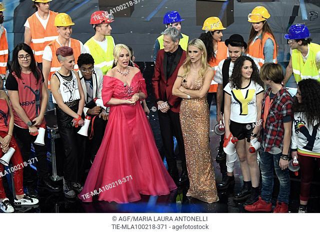 Claudio Baglioni, Antonella Clerici, Michelle Hunziker, Sanremo Young boys during Sanremo Italian Music Festival, Sanremo, Italy 10/02/2018