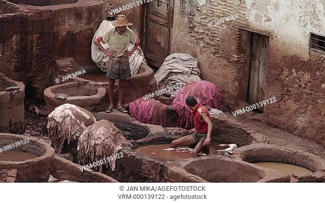 Fes, Morocco - 18 July 2014: Chouara traditional leather tannery in Fez, Morocco