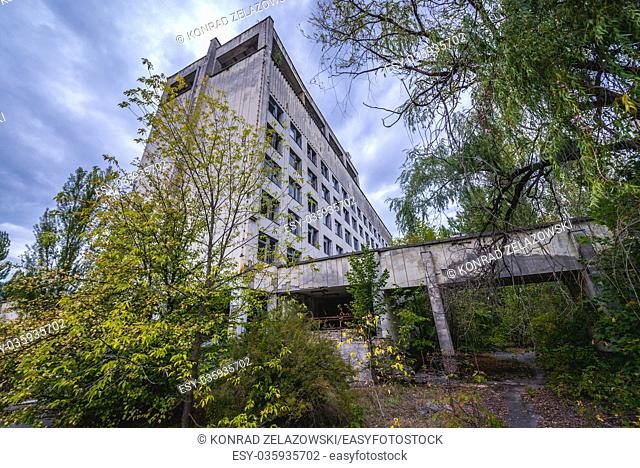 Polissya Hotel in Pripyat ghost city of Chernobyl Nuclear Power Plant Zone of Alienation around nuclear reactor disaster in Ukraine
