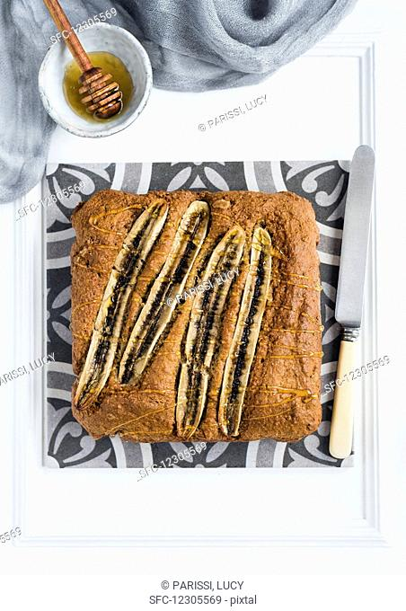 High fibre banana cake drizzled with honey