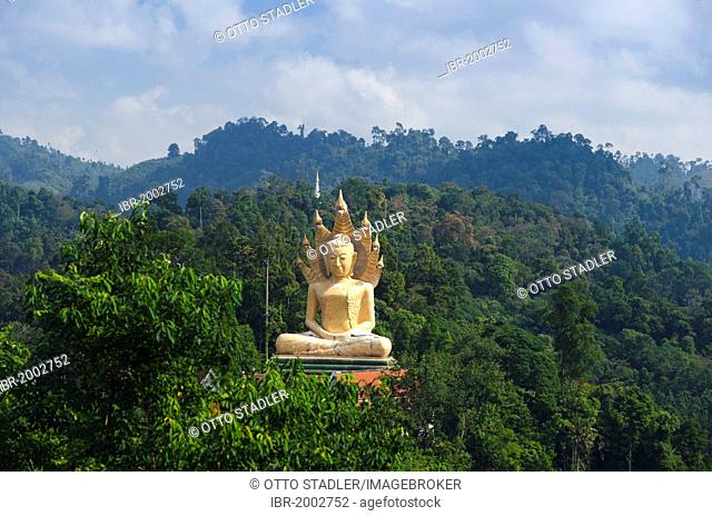 Seated Buddha statue in the mountains as seen from Wat Bang Riang temple, Thub Pat, Phang Nga, Thailand, Southeast Asia