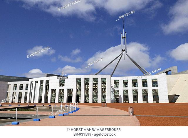 Entrance facade of the New House of Parliament, Canberra, Australia