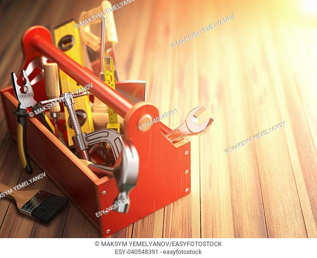 Support service concept. Toolbox with tools on wooden background. Construction. 3d illustration