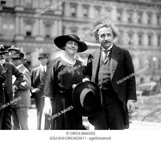 Albert Einstein with Wife Elsa, State, War and Navy Building in Background, Washington DC, USA, Harris & Ewing, 1921