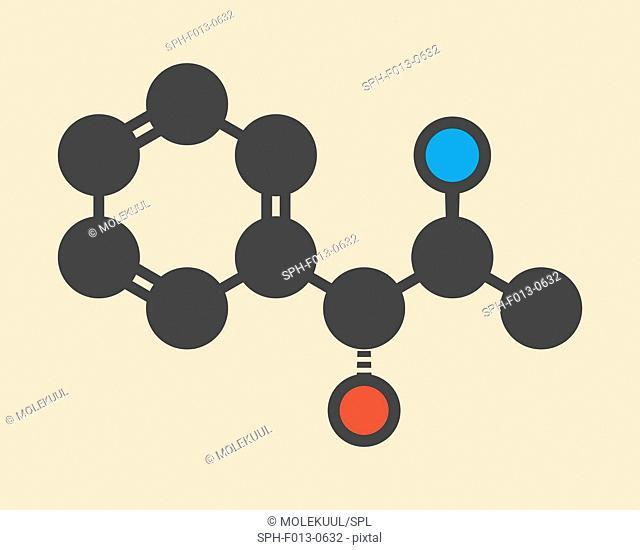 Phenylpropanolamine (norephedrine, norpseudoephedrine, beta-hydroxyamphetamine) drug molecule. Used as stimulant, decongestant and anorectic agent