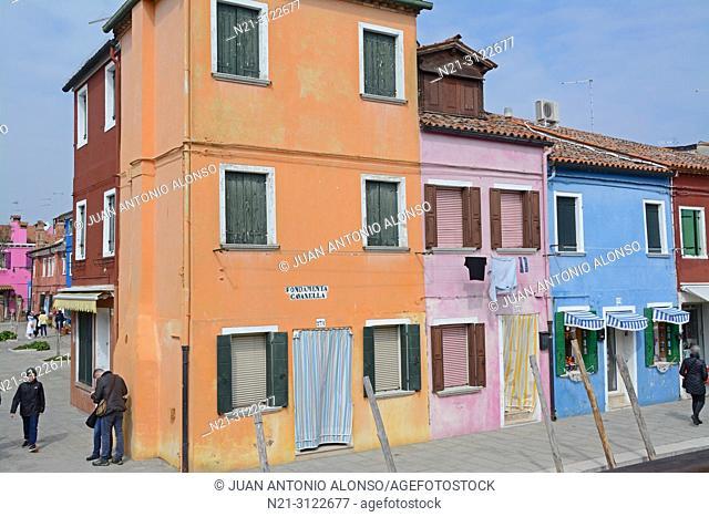 Houses in Burano, Venice, Veneto, Italy, Europe