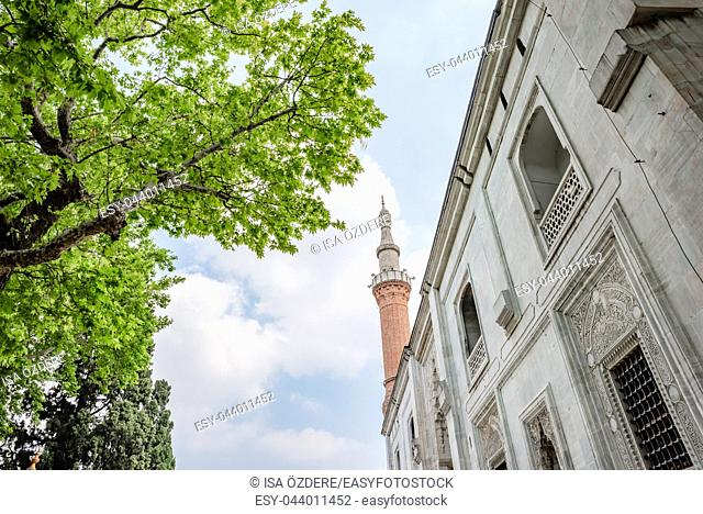 Exterior view of Green Mosque also known as Mosque of Mehmed I is a part of the larger complex in Bursa,Turkey. 20 May 2018
