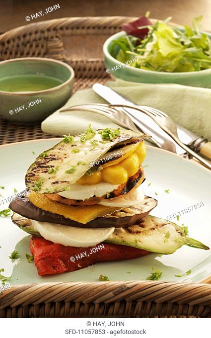 Grilled vegetable towers with mozzarella