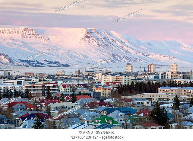 View over Reykjavík, capital city of Iceland in winter