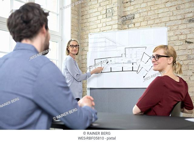 Mature businesswoman explaining floor plan to colleagues