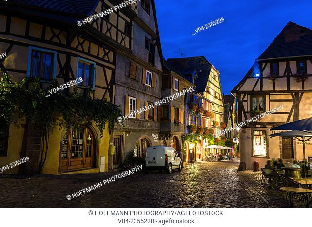 The picturesque village of Riquewihr at night, Alsace, France, Europe
