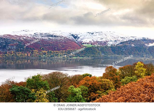 Derwent Water, Castlerigg Fell and Ashness Fell viewed from Cat Bells near Keswick in the English Lake District National Park, Cumbria, England