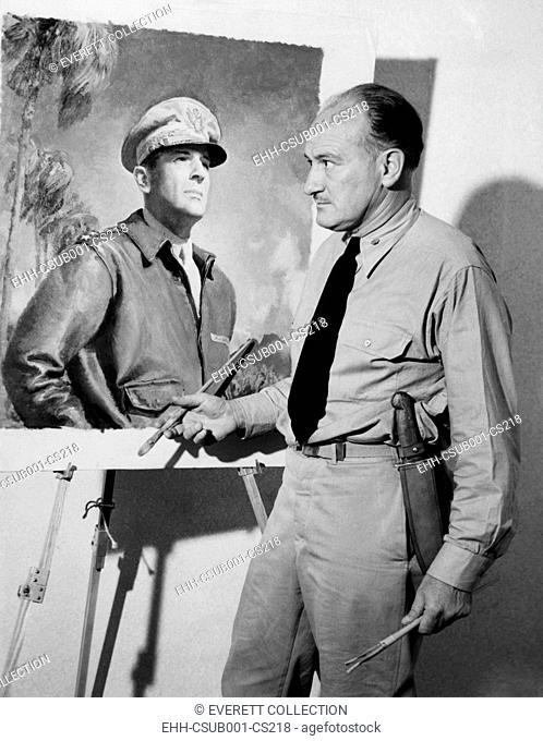 Artist McClelland Barclay with his portrait of General Douglas MacArthur during World War II. In July 1943 he was killed when his ship was torpedoed in the...