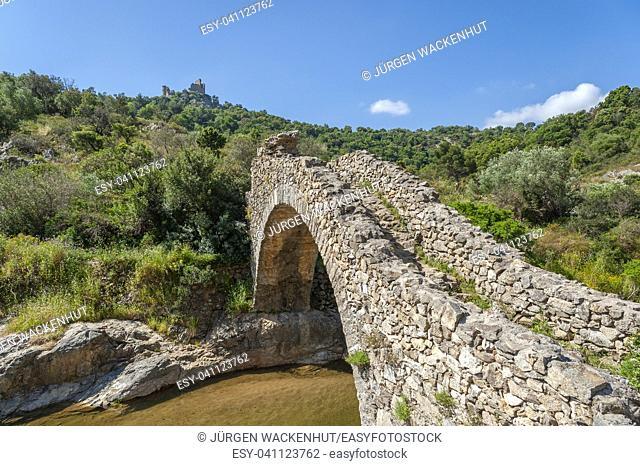 Historic arch bridge Le Pont des Fees, Grimaud-Village, Var, Provence-Alpes-Cote d`Azur, France, Europe