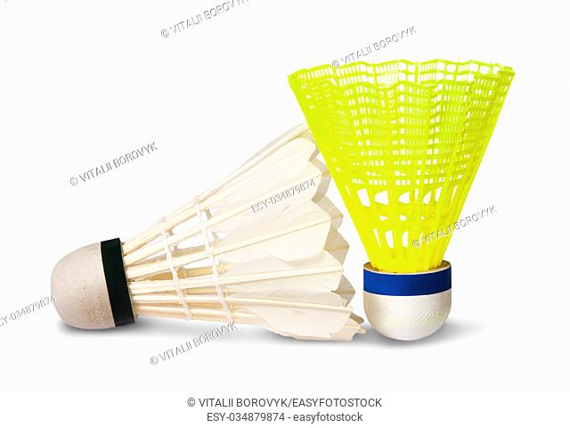 Two badminton shuttlecock isolated on white background