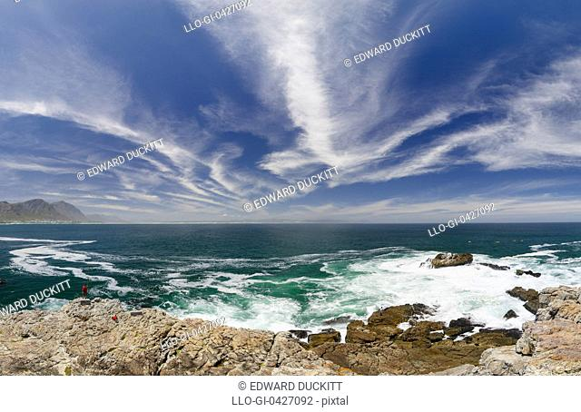 A panoramic photo of Walker bay with dramatic clouds, Hermanus, Western Cape Province, South Africa