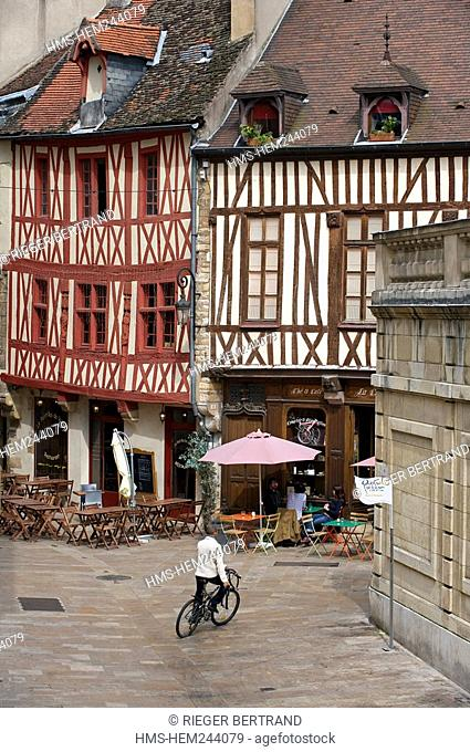 France, Cote d'Or, Dijon, timbered house at the corner of Vauban and rue Amiral Roussin Amiral Roussin Street