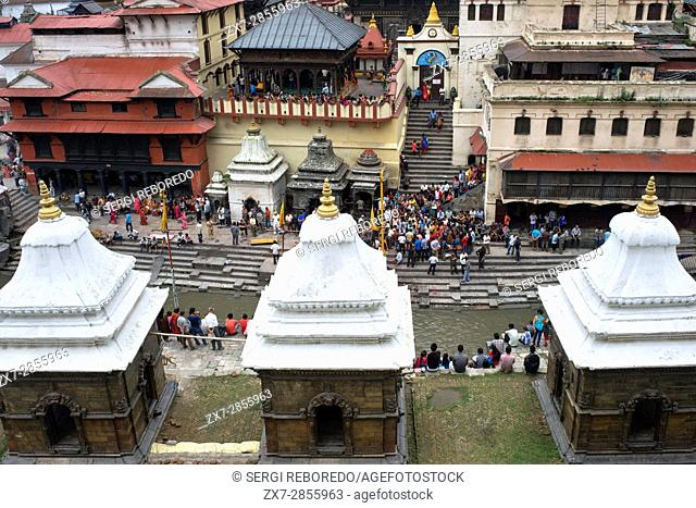 Ceremonial cremation place, Ghats, of Pashupatinath Temple at the holy Bagmati river, Kathmandu, Nepal