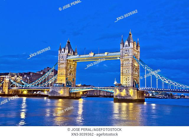 Tower Bridge, River Thames, London, England, UK, United Kingdom, Europe