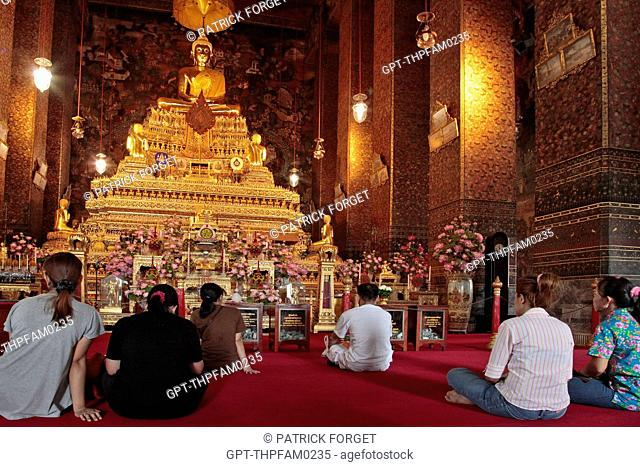 MEDITATING BUDDHA CALLED PHRA PUTTHA DEVAPATIMAKORN BY THE KING RAMA I. THE PEDESTAL HOLDS THE SOVEREIGN'S ASHES, STATUE IN THE UBOSOTH