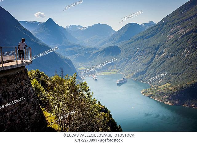 Geirangerfjord and in background Geiranger, More og Romsdal, Norway