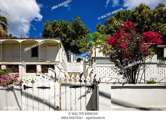 U.S. Virgin Islands, St. Thomas, Charlotte Amalie, Kongens Gade Street, house detail