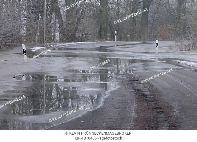 High water flooding a country road in Dessau, Saxony-Anhalt, Germany, Europe