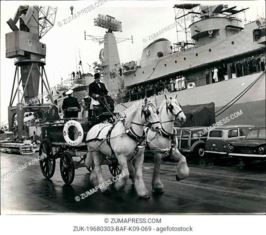 Mar. 03, 1968 - Carriage for the Captain. A brewer?¢'Ǩ'Ñ¢s dray fitted with the captain?¢'Ǩ'Ñ¢s bridge chair being used at Chatham dockyard yesterday to carry...
