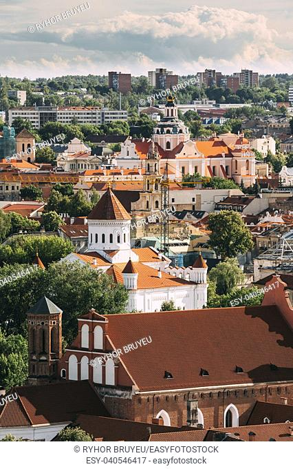 Vilnius, Lithuania. View Of Church Of St. Casimir, Church Of Blessed Virgin Mary Of Consolation, Cathedral Of Theotokos, Church Of St. Francis And St