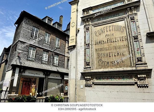 ancient advertising sign at Pont-Audemer, Eure department, Normandy region, France, Europe