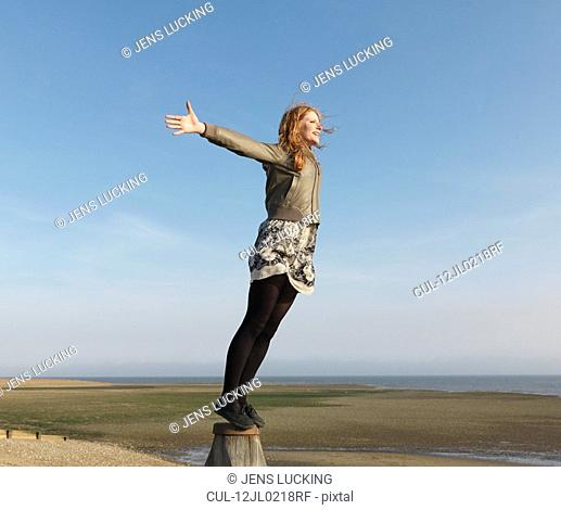 Woman standing on wooden post