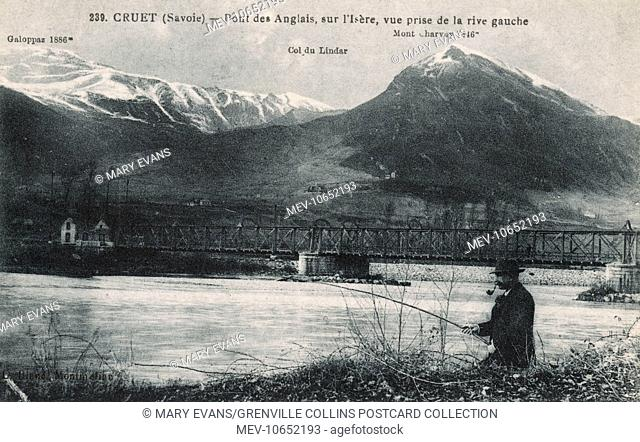 Cruet, Savoie, France - English Bridge - with an Englishman fishing in the river!