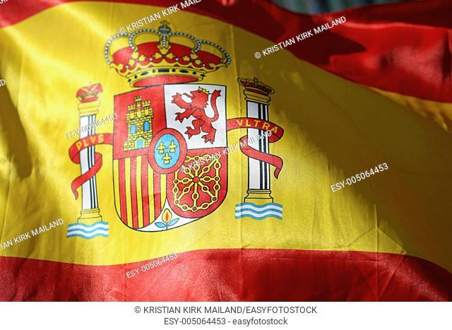 Wavy flag of spain, with crown and inscription