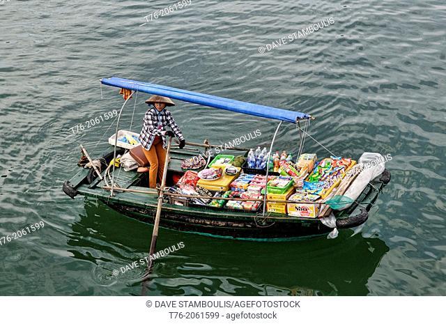 Boat vendor in Halong Bay, Vietnam