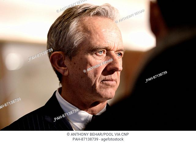 Robert F. Kennedy Jr. talks to members of the media in the lobby of the Trump Tower in New York, NY, on January 10, 2017