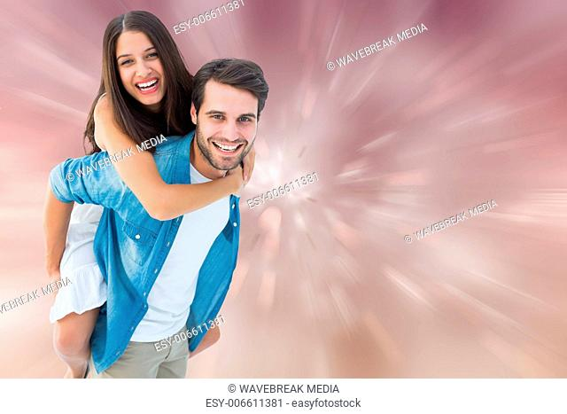 Composite image of happy hipster giving his girlfriend a piggy back
