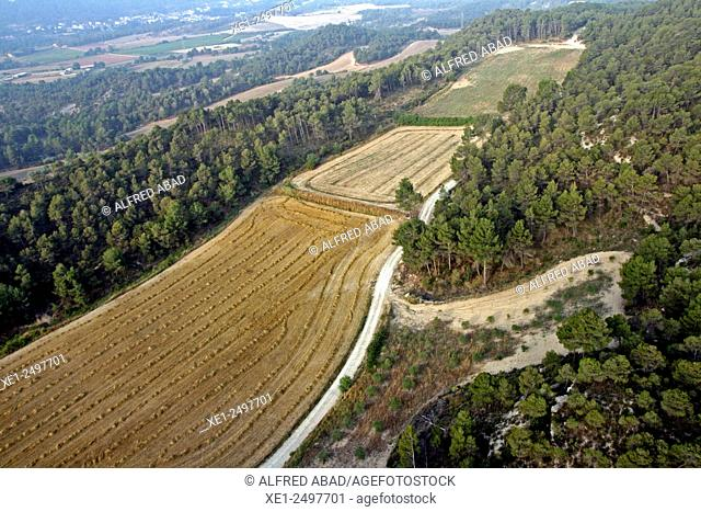 Fields from the air, Anoia, Catalonia, Spain