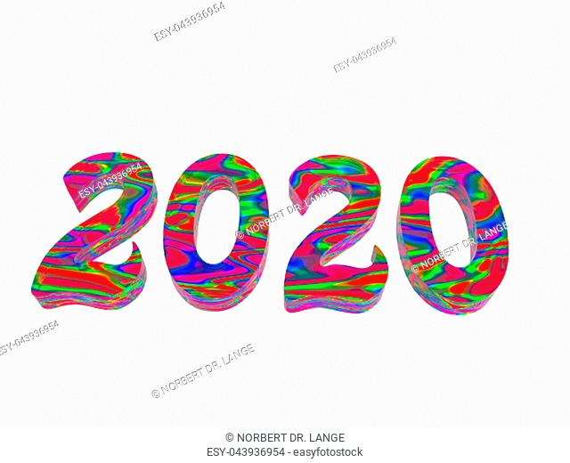 Year numbers of the two-thousanders 3D rendering