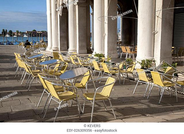 Cafe Table and Chairs in St Marks Square; Venice; Italy