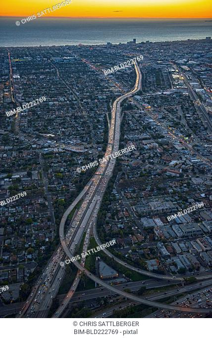 Aerial view of highways in Los Angeles cityscape, California, United States
