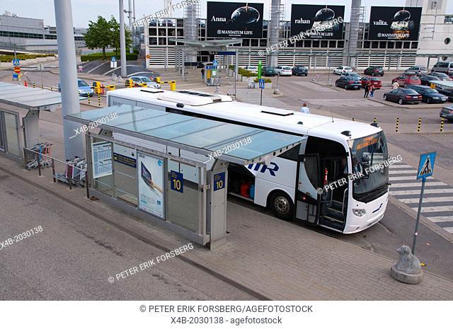 Bus and coach departures and arrivals area Helsinki-Vantaa airport Vantaa Finland northern Europe